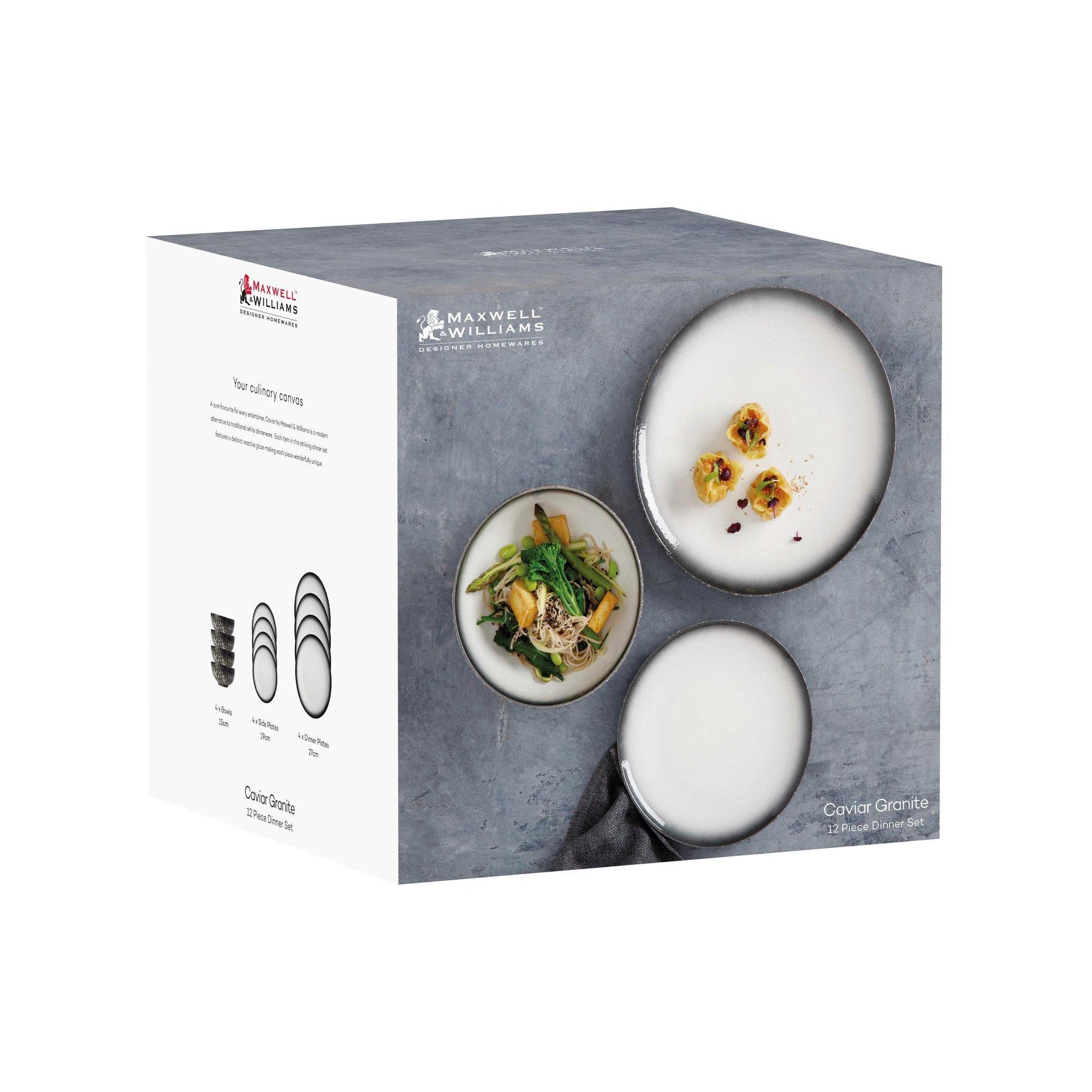 Dinner Set Caviar Granite (12 PC) - Reimagine Designs