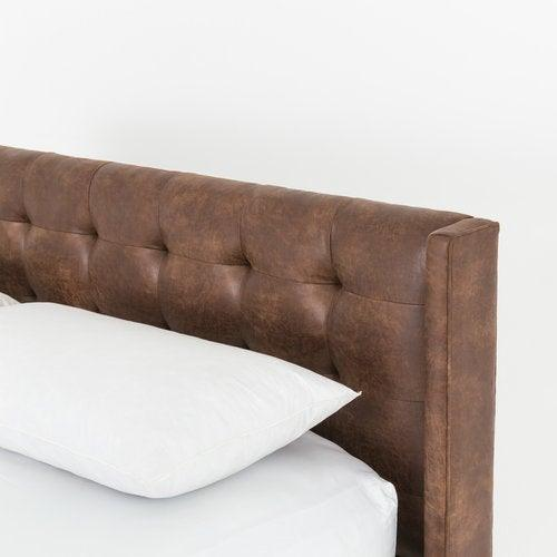 Leather tufted bed