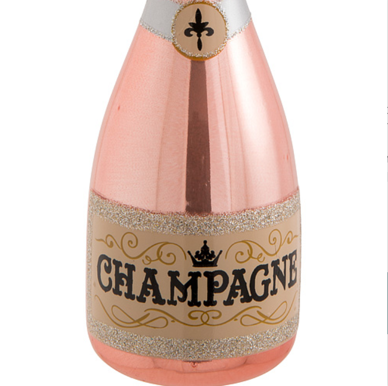 Pink Champagne Bottle Ornament