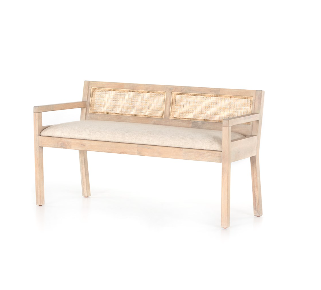 CLARITA ACCENT BENCH, WHITE WASH - Reimagine Designs