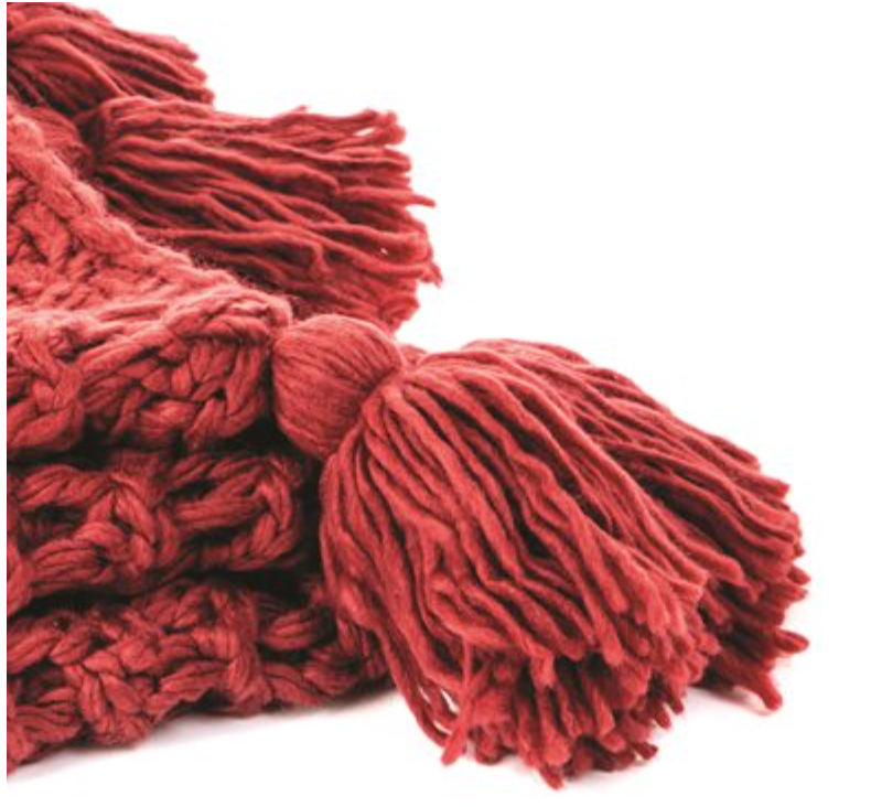 Houmous Red Knitted Throw - Reimagine Designs