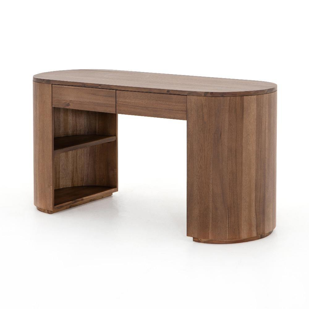 PILAR DESK-CARAMEL BROWN VENEER - Reimagine Designs