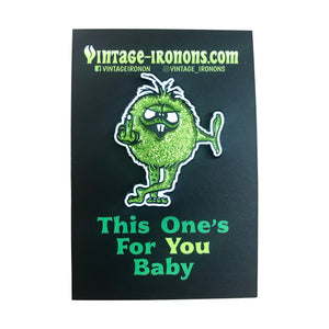 This One's For You Baby! Green Glitter Glow-in-the-Dark Enamel Pin