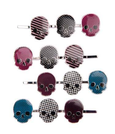Skulls Dots/Stripe/Grid Hair Pin Set