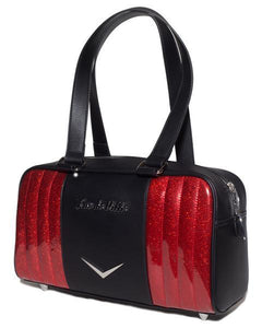 Small Carry All Tote Matte Black and Venom Red Sparkle