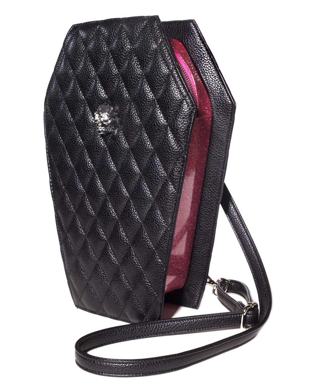 Elvira Coffin Backpack Matte Black and Bubbly Pink Sparkle