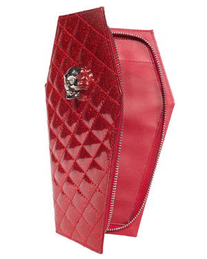 Elvira Coffin Wallet Clutch Venom Red Sparkle