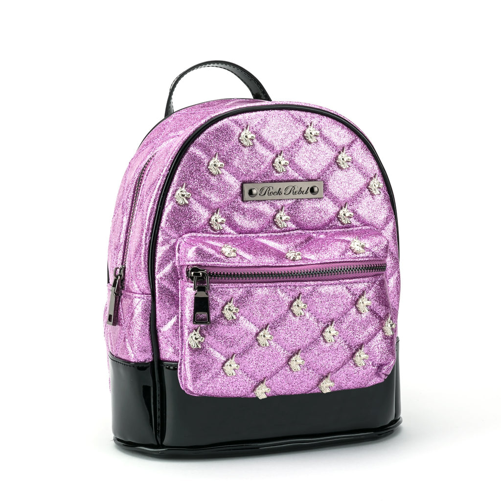 Unicorn Quilted & Studded Pink Glitter Mini Backpack