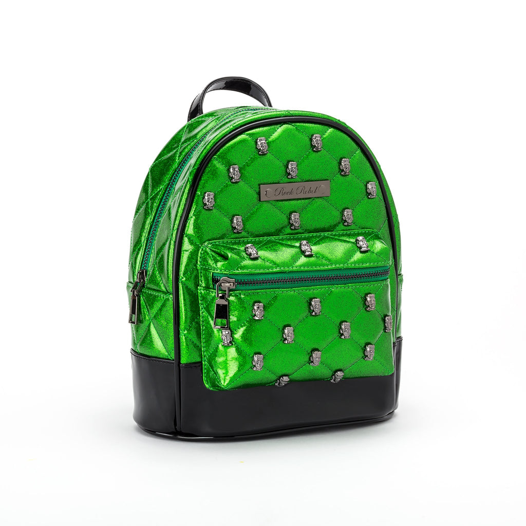 Monster Head Quilted & Studded Green Glitter Mini Backpack