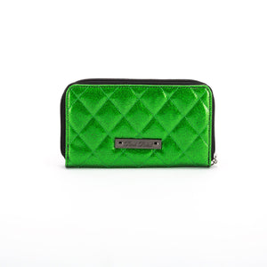 Studded Monster Head Green Glitter Wallet