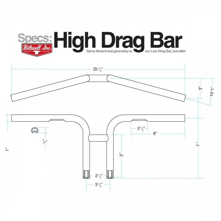 "High Drag Handlebars - 1"" Black Dimpled"