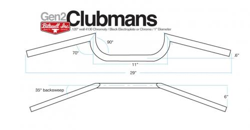 "Clubman Bar - Chrome Polished 1"" Non Dimpled"