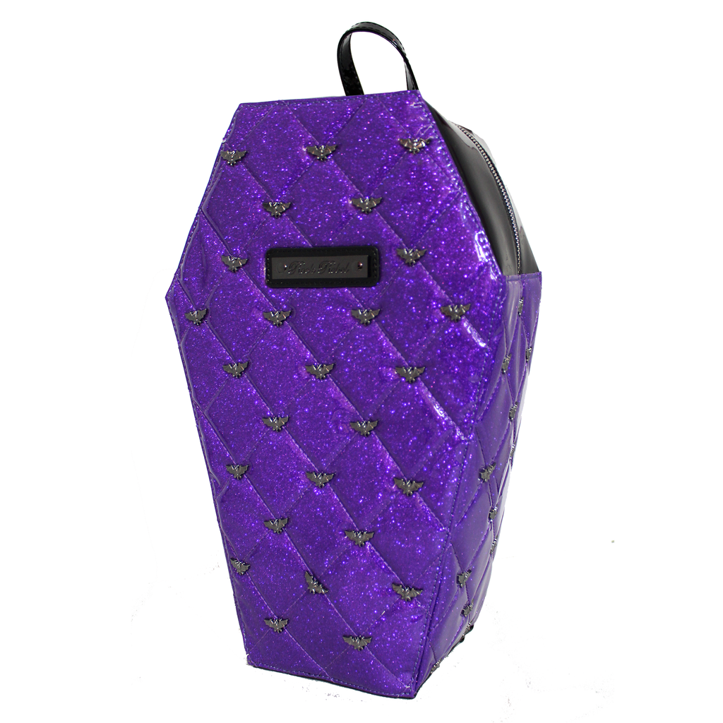 Mina Quilted Coffin Backpack in Purple