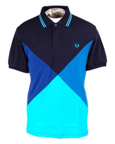 Cut and Sew Carbon Blue Harlequin Polo