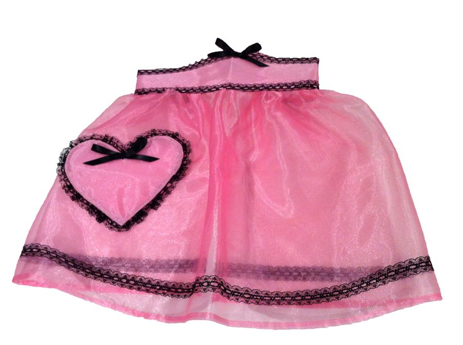 The Boudoir - Organza Half Apron Hot Pink