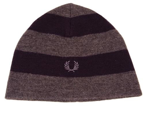 Bold Stripe Beanie Hat Grey & Navy