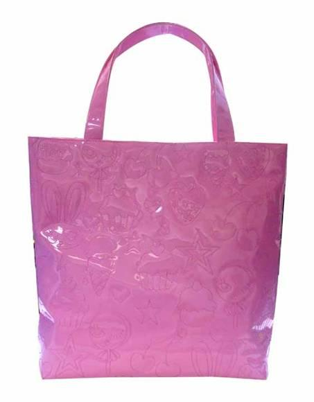 Pink Patent Embroidered Tote Bag