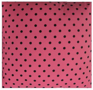 Pink and Black Polka Dot Pillow