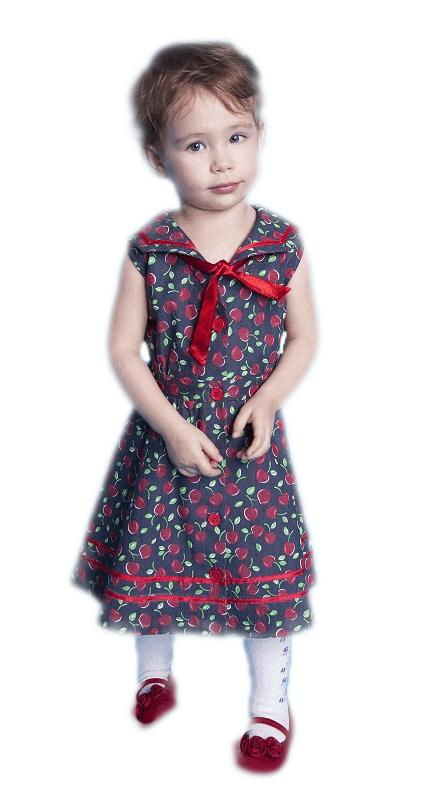Cherry Denim Little Girl's Dress