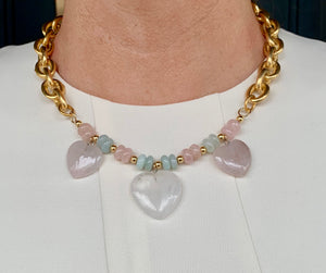 Rose Quartz and Rock Crystal Heart Necklace