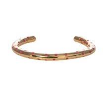 Load image into Gallery viewer, Camellia pink enamel dot gold cuff