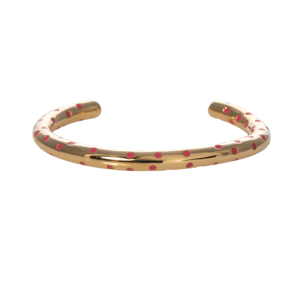 Camellia pink enamel dot gold cuff
