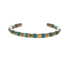 Load image into Gallery viewer, Hydrangea blue striped adjustable cuff Goldbug Collection