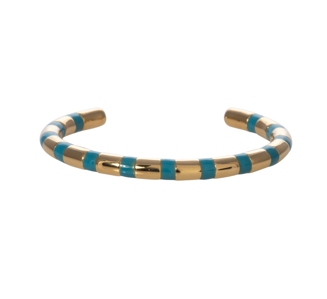 Hydrangea blue striped adjustable cuff Goldbug Collection