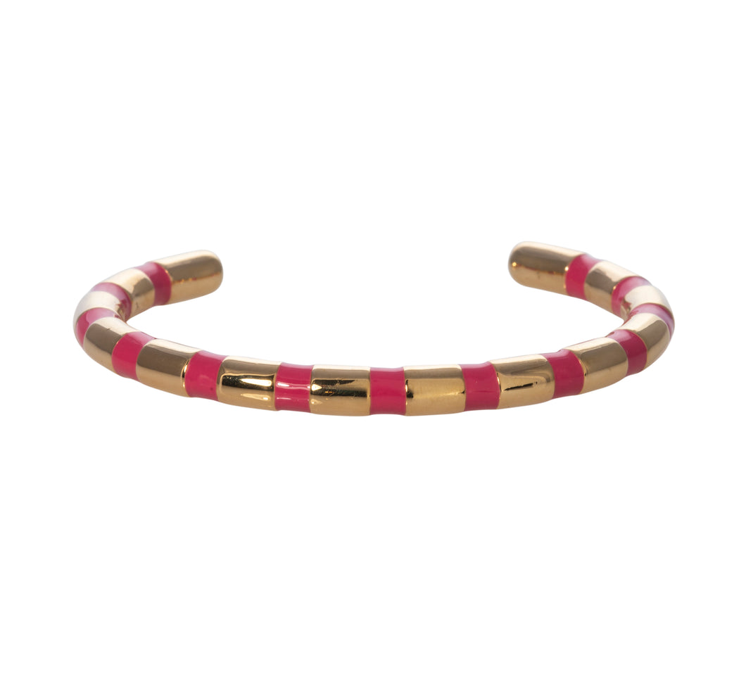 Camellia pink striped adjustable cuff Goldbug Collection