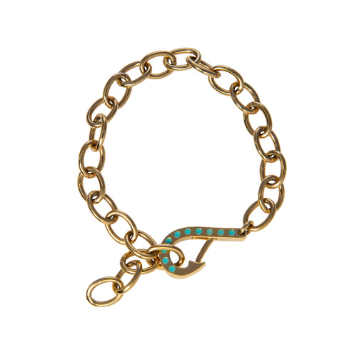 Fish hook bracelet with blue enamel Goldbug collection