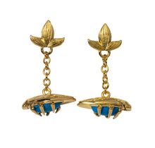 Load image into Gallery viewer, Turquoise bug fob earrings Goldbug Collection