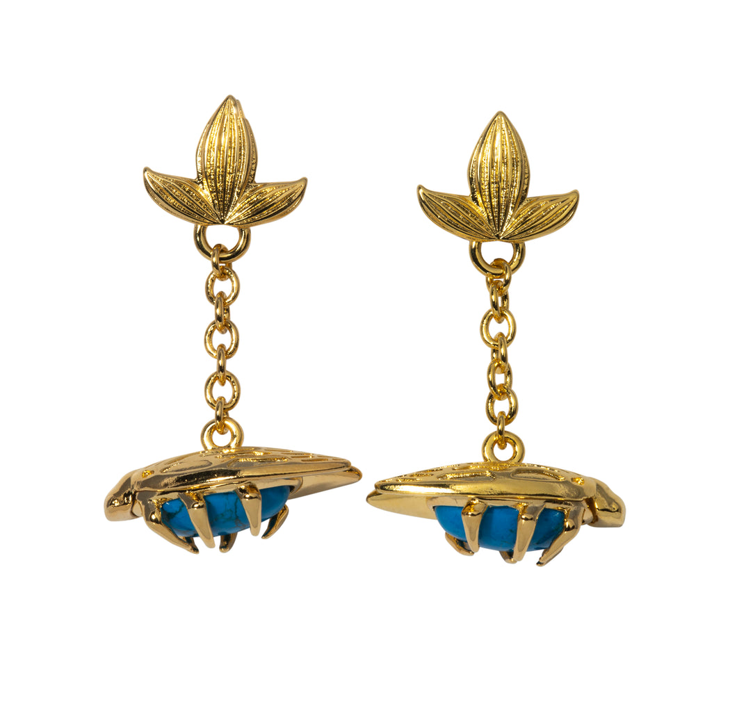 Turquoise bug fob earrings Goldbug Collection