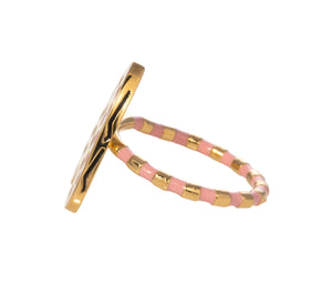 Heart ring with pink enamel Goldbug Collection