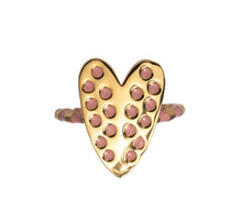 Load image into Gallery viewer, Heart ring with pink enamel Goldbug Collection