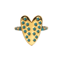 Load image into Gallery viewer, Heart ring with blue enamel Goldbug Collection