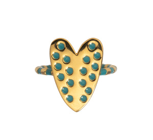 Heart ring with blue enamel Goldbug Collection