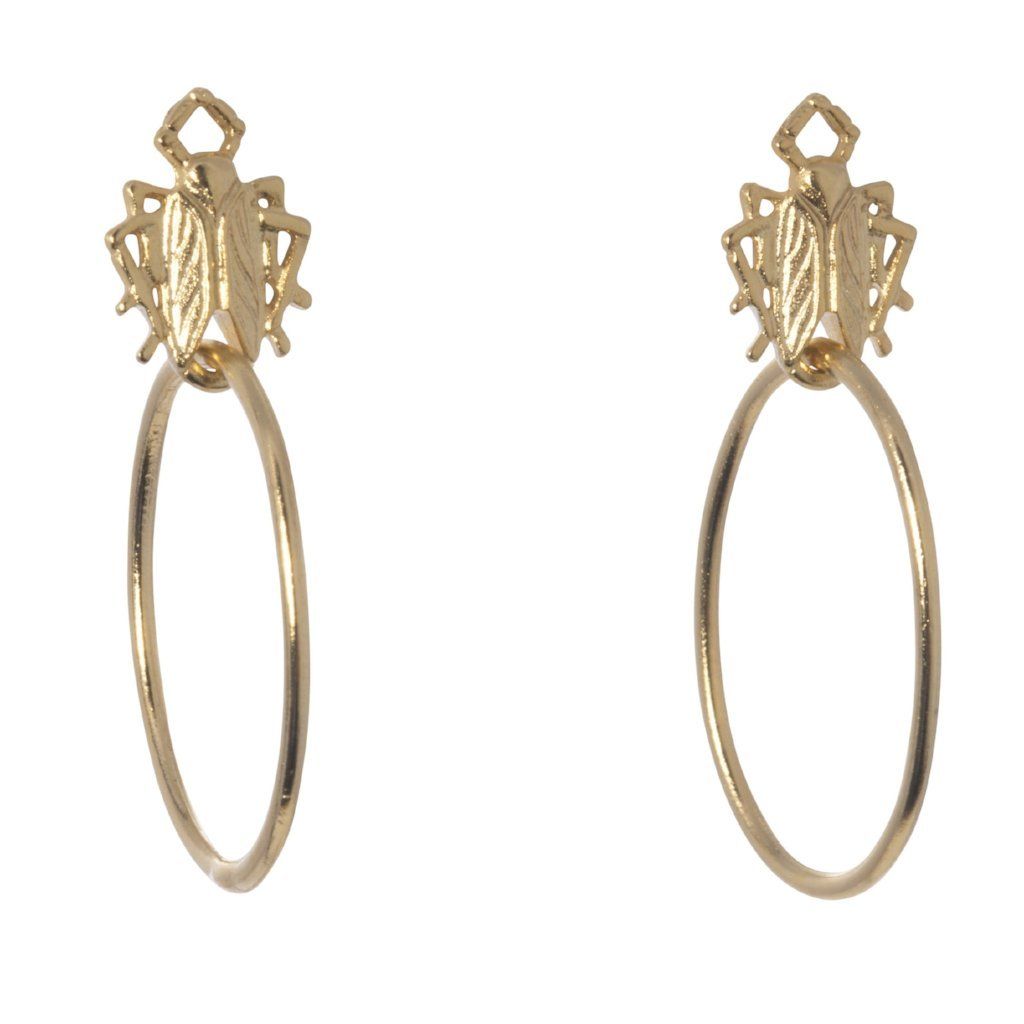Tiny Goldbug Hoop Earrings