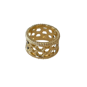 Bee Hive Hexagon Ring