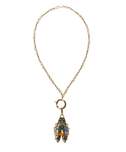 Rainbow gemstone bug on 16 inch chain Goldbug Collection