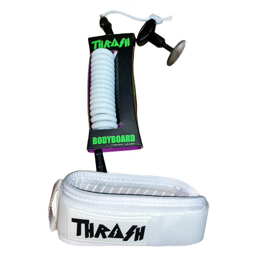 White bodyboard bicep leash