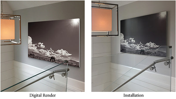 Comparison of digital rendering of art next to installed piece.