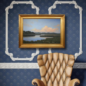 Robert Tinney's painting, Magic on the Horizon, in a gold-hued frame, hanging on a blue patterned wall above a brown leather chair.
