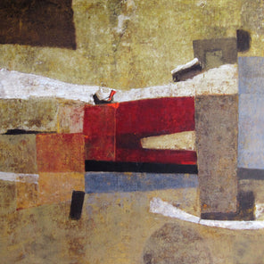 A brown abstract painting by Stanley Bate.