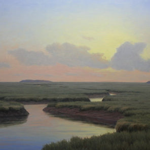 A painted scene of a wetland with the sun peaking through the clouds.