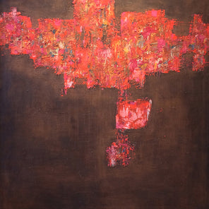 Abstract expressionist painting with brown background and vibrant red, textured foreground.