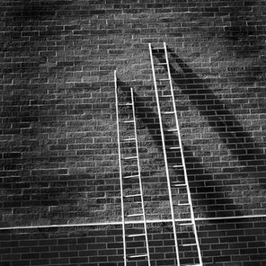 Black and white photograph of two ladders leaning up against a brick wall.