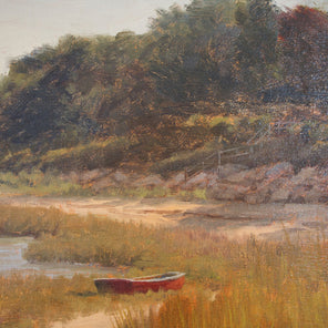 A close up detail of a red dinghy laying on the grassy shore of the beach on an autumn day from Robert Tinney's painting, Fall Beach Scene.