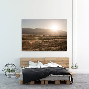 """Desert Sunrise"" staged on a white wall, under is a wooden bed with black and white bed sheets."