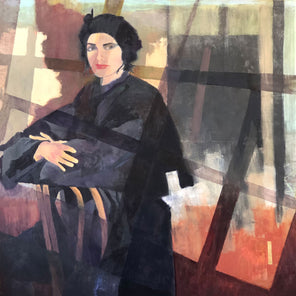 A painting of a woman with short black hair, a black hat, and black coat sitting backwards in a chair, with abstract blocks of color behind her.