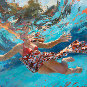 A figurative painting of a girl in a pool with underwater distortion.